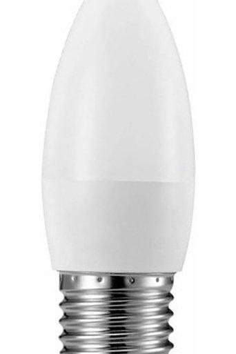 5 Lampadas Led Vela Leitosa E27 4,8w Branco Quente Bivolt