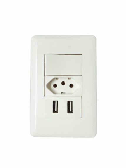 Tomada Interruptor Com 2 Entradas Usb Branco