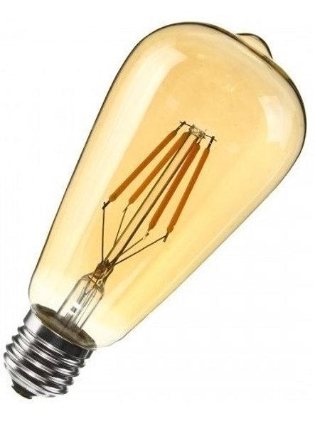 3 Lampadas Led Filamento St64 Our E27 Ambar  Bq 4w