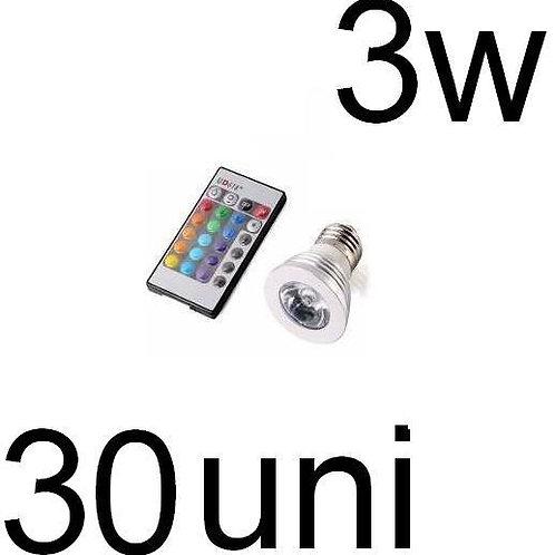 30 Lampadas Led Dicroica Rgb 3w Gu10 Bivolt