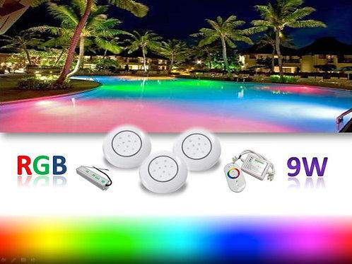 3 Refletor Piscina Rgb 9w Controle Fonte 12v 5a Blindada