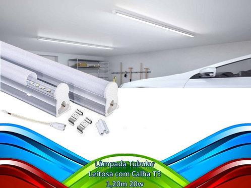 Lampada Tubular Leitosa C/calha T5 1,20m 20w Bf Bivolt
