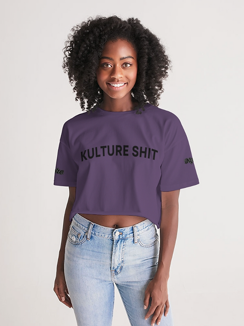 Kulture Shit Crop Top -Royalty Purple