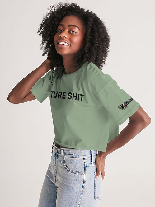 Kulture Shit Crop Top - Green