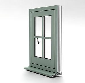 Flush casement window external view
