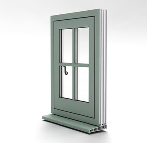 Flush casement window external view