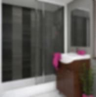 Motivo 250 Decor Silver and Decor Graphite wall panels in shower