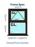 Optima Horned Casement Window - 905mm x 1335mm - Black Brown