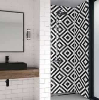 Diamond Print Acrylic bathroom panels in