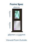 Optima Horned Casement Window - 480mm x 1335mm - Black Brown