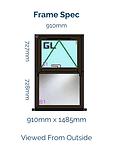 Optima Horned Casement Window - 910mm x 1485mm - Black Brown