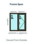 Optima Sculptured Casement Window -Odd Leg 1350mm x 1300mm - Anthracite Grey
