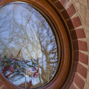 Round PVC Window In Golden Oak
