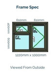 Optima Sculptured Casement Window -Odd Leg 1220mm x 1000mm - Anthracite Grey