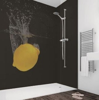 Lemon Print Bespoke Acrylic Shower Panel