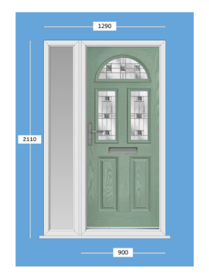 Leeds Composite Door And Side Light In Chartwell Green With Aspen Style Glass.