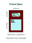Optima Sculptured Casement Window - 1030mm x 610mm - Rosewood