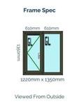 Optima Sculptured Casement Window -Odd Leg 1350mm x 1220mm - Anthracite Grey