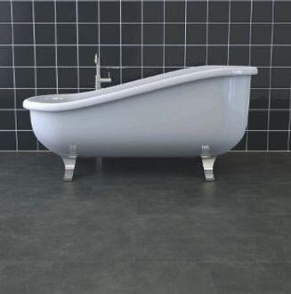 Ocean Slate Tile Vinyl Flooring Layed In A Bathroom