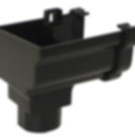 Ogee Gutter Stopend With Outlet in Black