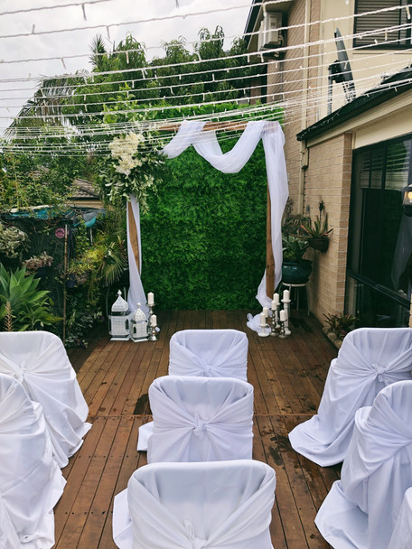 Walnut Timber Wedding Arch