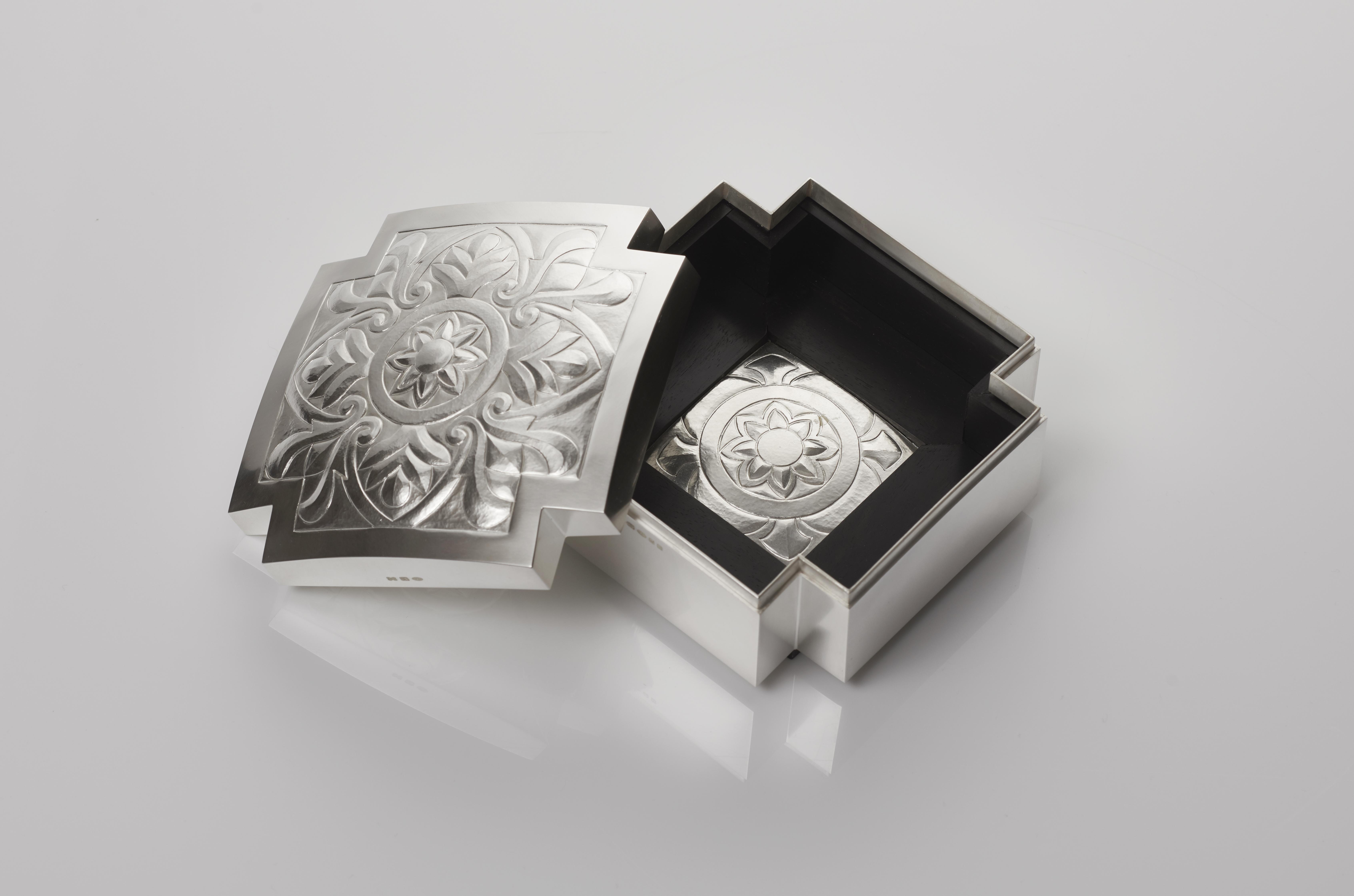 Architectural Ebony and Silver Box