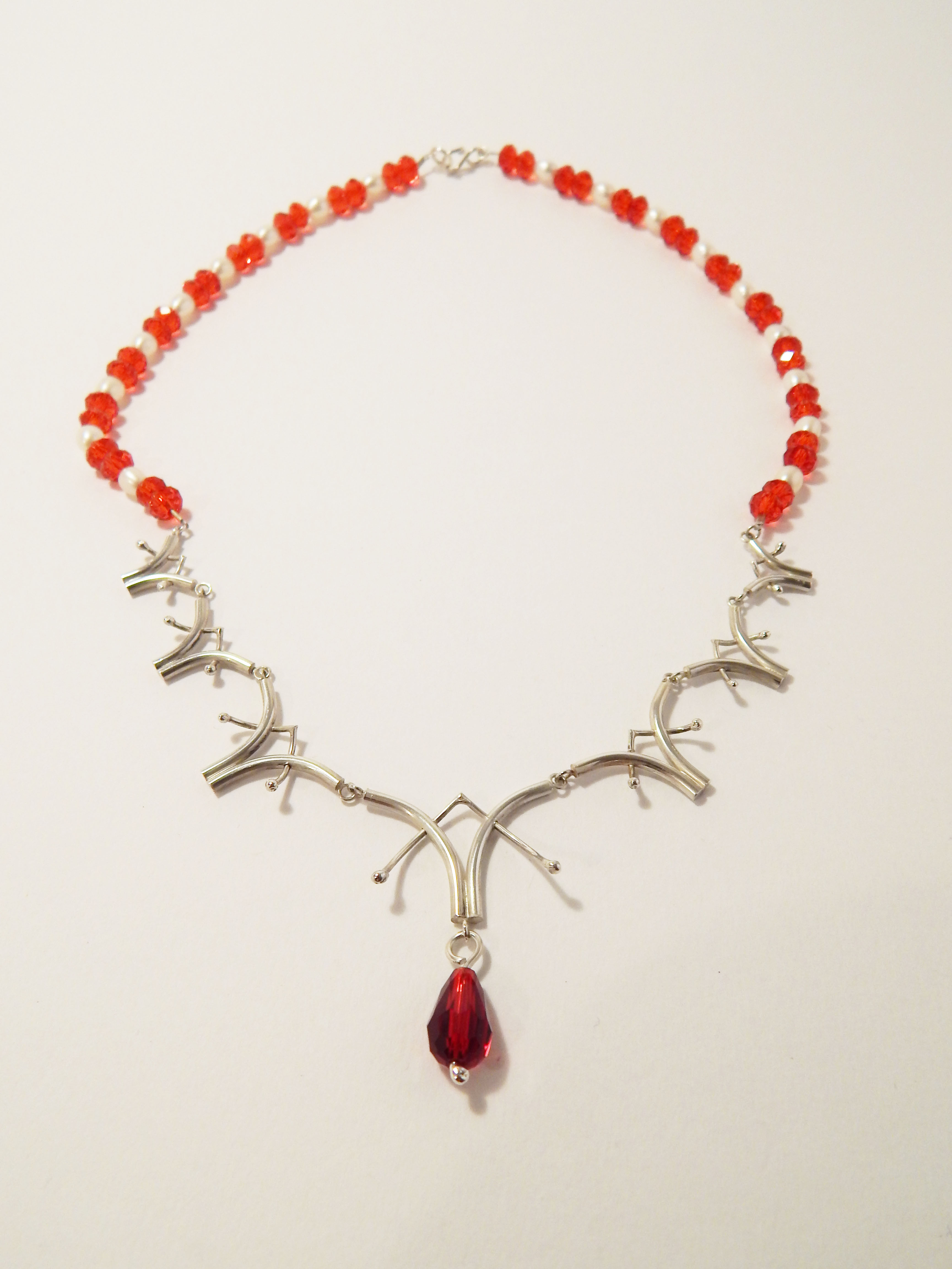 Sterling Silver and Ruby Necklace
