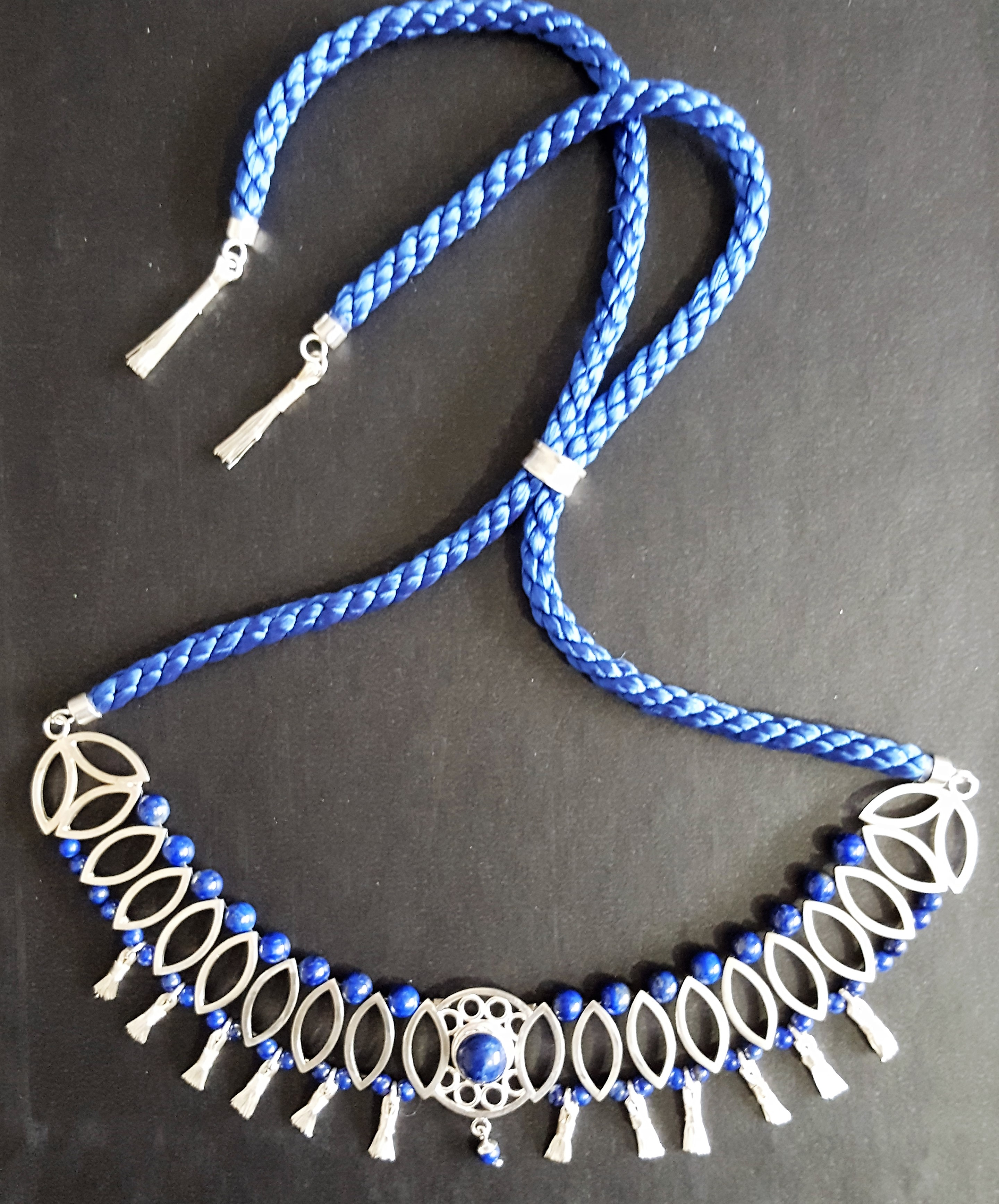 Silver and Blue Lapis Necklace