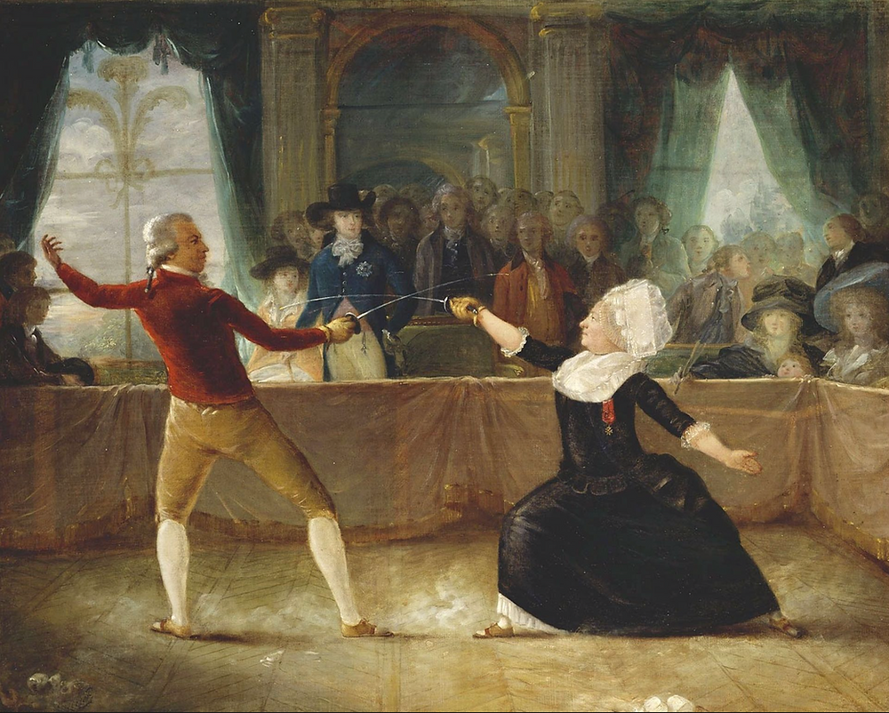 The person on the left is the Chevalier de Saint-George, son of a slave from Guadeloupe and her white master. The person on the right is the Chevaliere d'Eon, diplomat and spy who claimed to be a woman and wore only women's clothing from the age of forty-nine. These two were renowned fencers and had agreed to a swordfight at the behest of the Prince of Wales, wearing the big hat and standing at the center left. This was a major social event, attended by many friends of His Royal Highness.