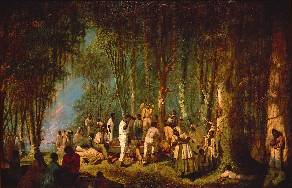 The image depicts the burial of a enslaved person in the woods. In The Other Madisons's we use this image to capture the essence of Mandy's burial.