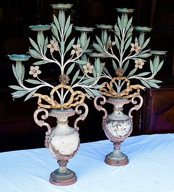 Pair of Foral Painted Candles