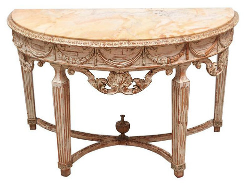 19th c. Italian Carved Wood Demilune Console Table