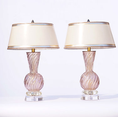 20th c. Italian Murano Lavender Lamps with Lucite Bases