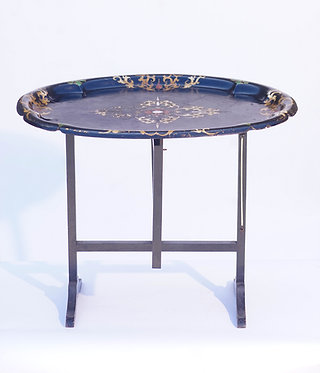 19th c. Papier Mâché Tray Table with Mother of Pearl