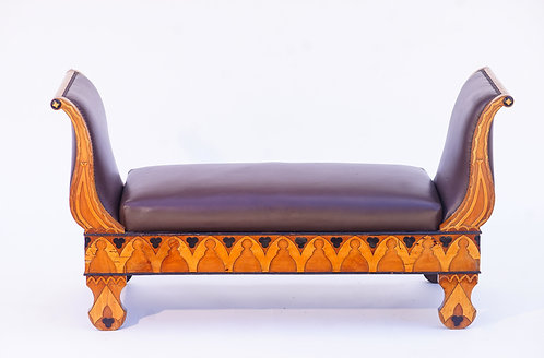 19th c. Russian Ebony and Fruitwood Bench