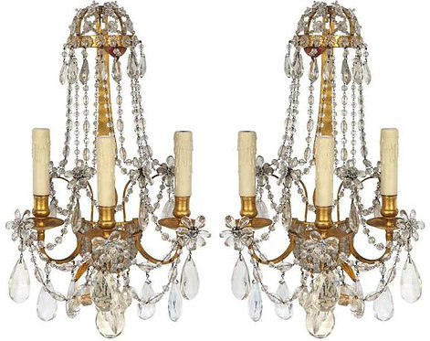 Pair of 19th c French Dore Bronze Crystal Sconces