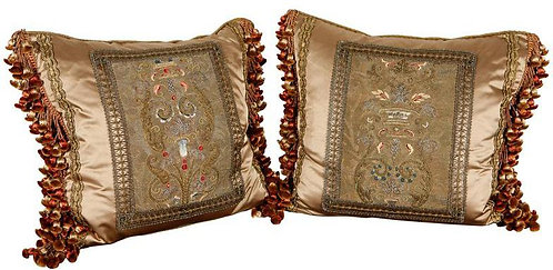 Pair 18th c. Italian Metal Thread and Chenille Fragment Pillows