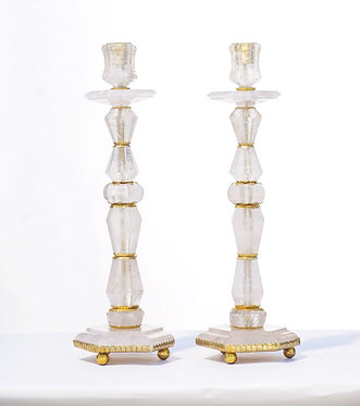20th c. Rock Crystal Candlesticks