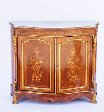 19th c. French Doré Bronze Mounted Inlaid Cabinet with Marble Top