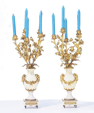 19th c. French Doré Bronze Candelabras with Ram's Head Motif