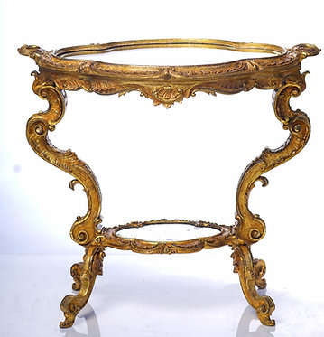 19th c. Italian Giltwood Mirrored Tray Table