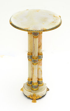 19th c. French Dore Bronze and Champleve Onyx Side Table