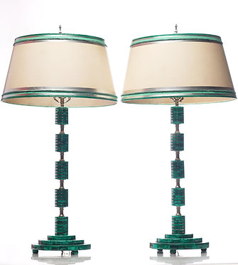 20th c. Malachite Mid-Century  Lamps