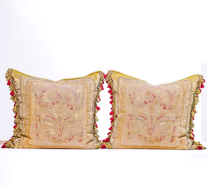 Pair of Aubusson Pillows with Tassles