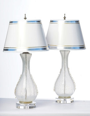 20th c. Italian white Latticino Mid-Century Murano Lamps