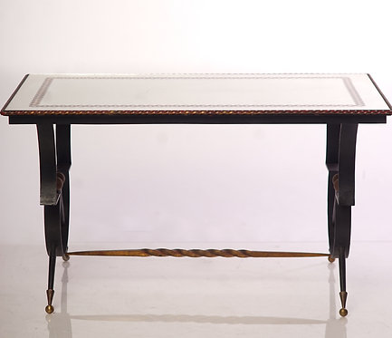 20th c. French Iron and Glass Mirrored top Low Table