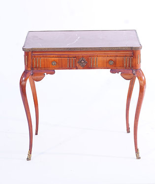 19th c. French Side Table w/ Rouge Marble Top
