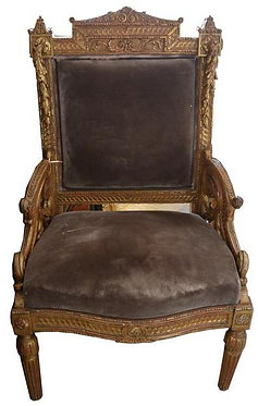 18th c. Italian Giltwood Throne Chair