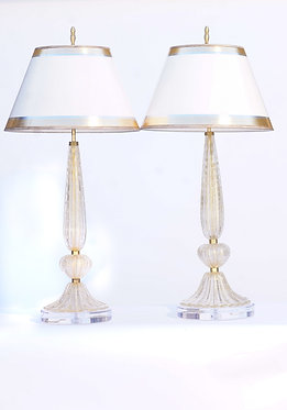 20th c. Italian Murano Lamps with Lucite Bases