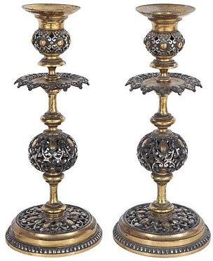 Pair of 19th c. Italian Bronze Candle Sticks